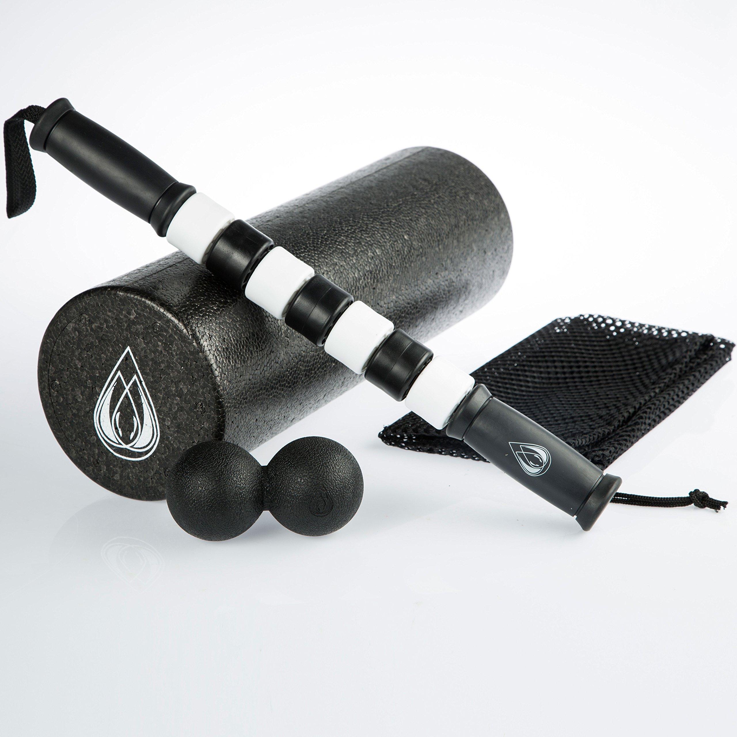 TeamSoda 18 inch Foam Roller + Muscle Roller Stick + Double Massage Ball Bundle