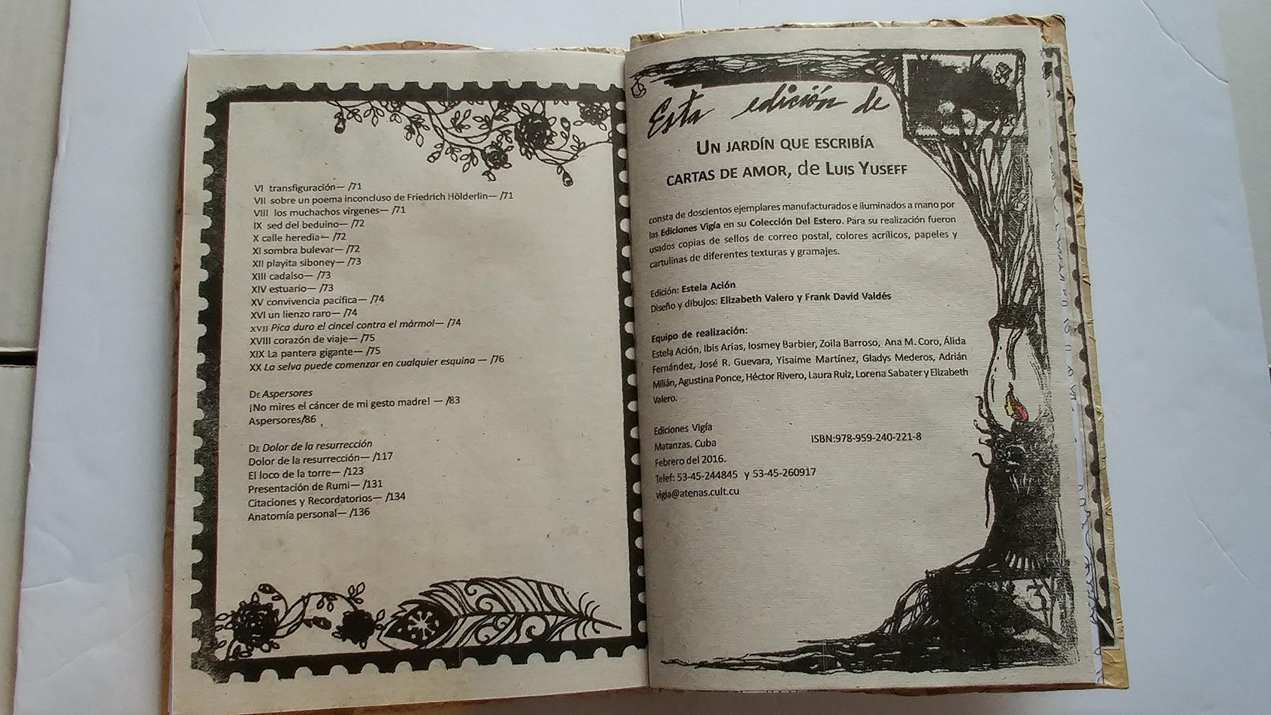 Un jardin que escribia cartas de amor, ediciones vigia ...