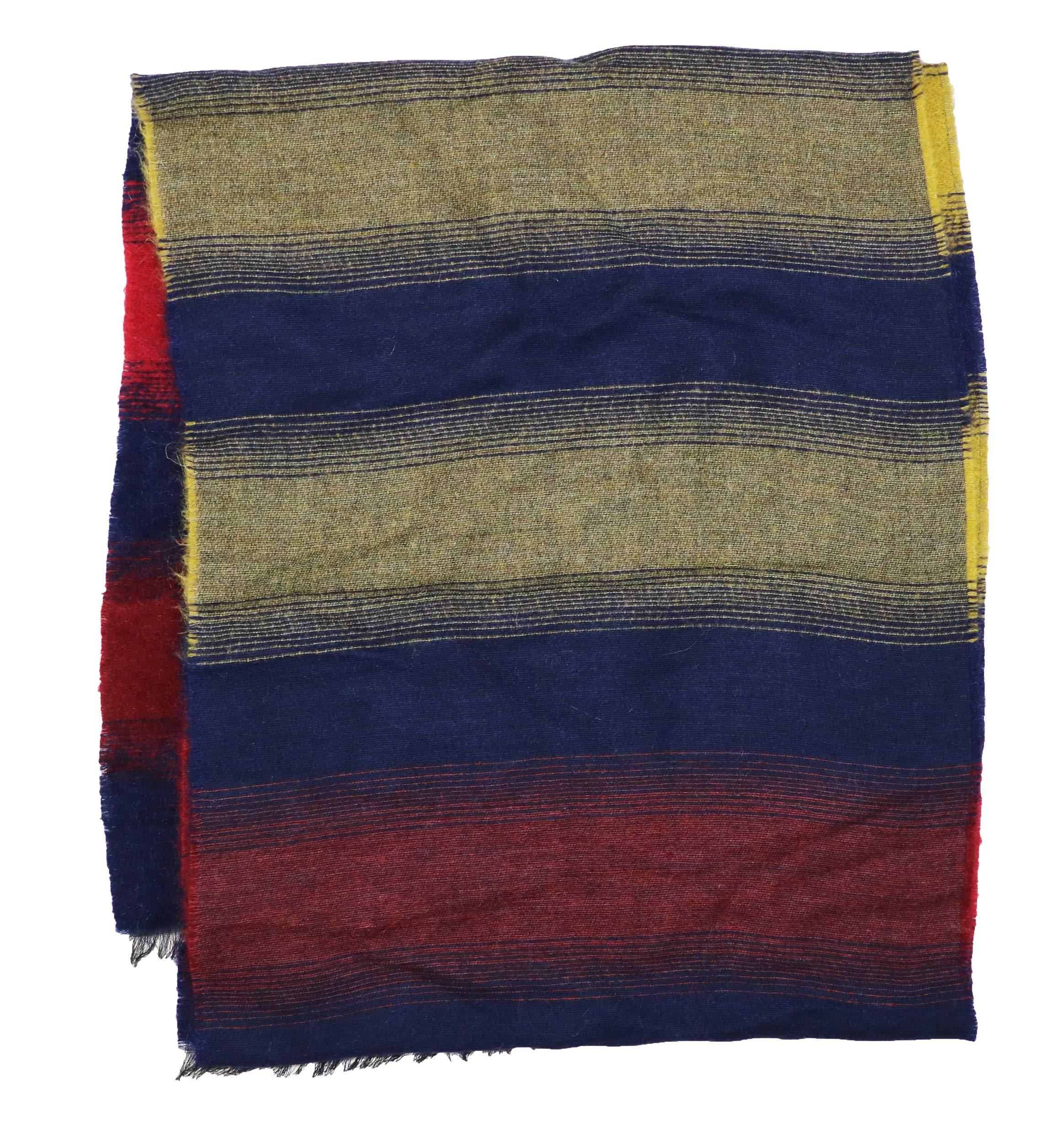 Paul Smith Mohair Blend Striped Fine Knit Men's Fringe Scarf (Navy, One Size)