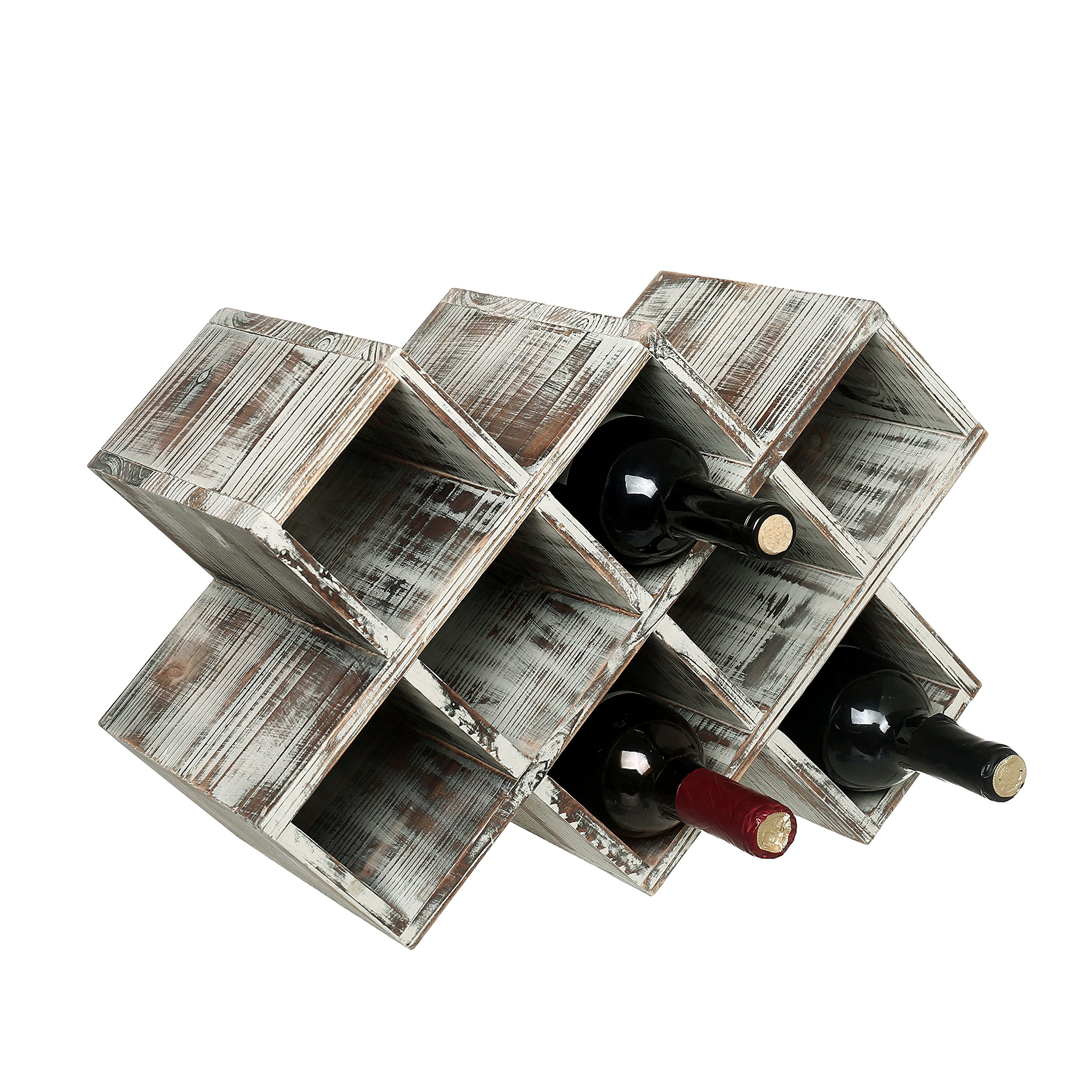 Countertop Rustic Torched Wood Wine Rack, Geometric Design 8-Bottle Storage Organizer