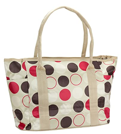 080ce34dca69 Amazon.com : JS Multi-Fashion/Multi-Function Mommy Tote Bag (Polka Dot on  White) : Beauty