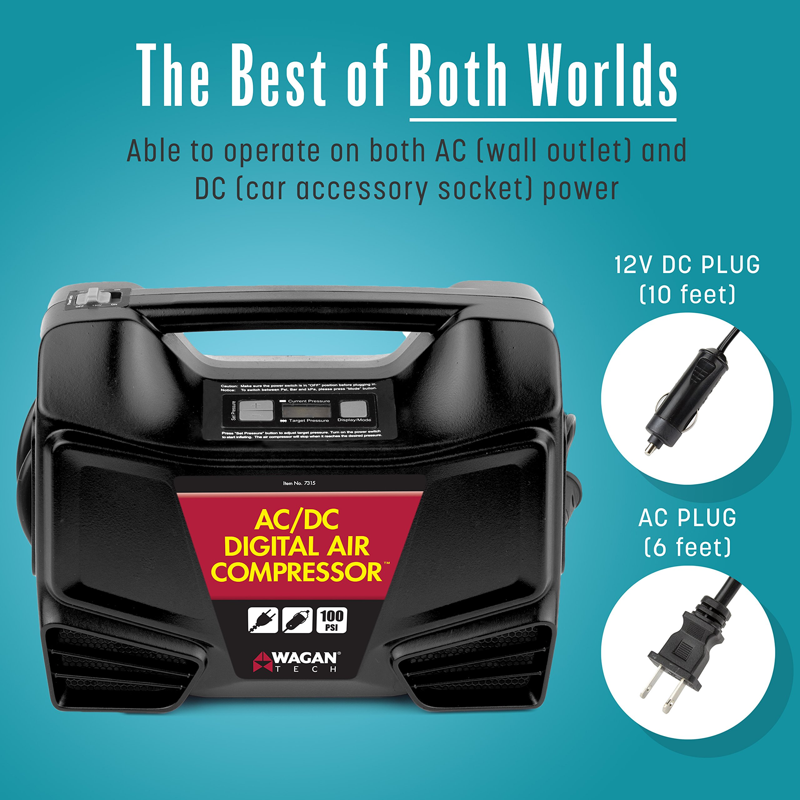 Wagan Digital Display Dual AC/DC 110V/12V Air Compressor Tire Inflator with Nozzle Adapters for Vehicle Outdoor and Home Indoor Use by Wagan (Image #2)