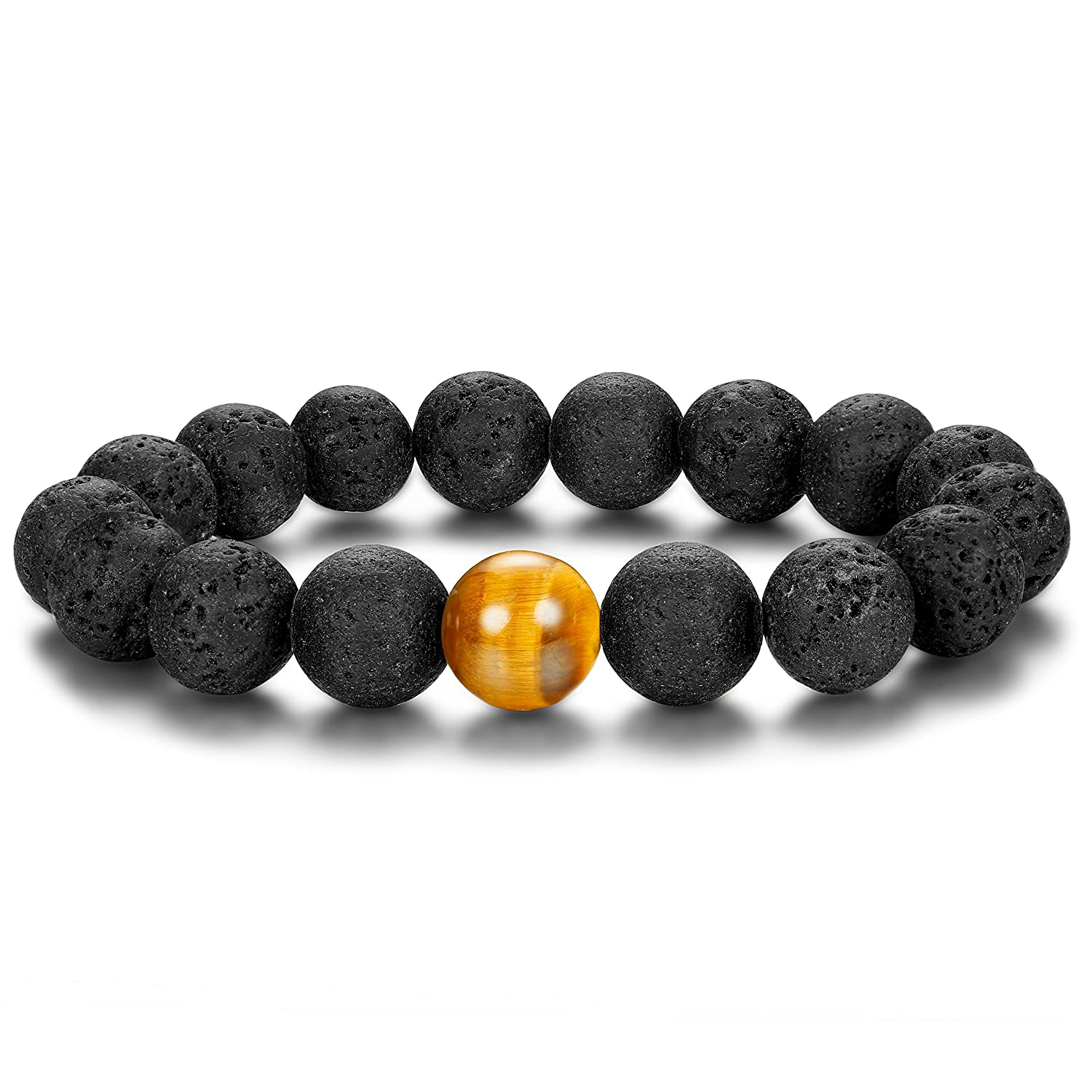 6c47019d29 SPECIAL DESIGN-- 1 Piece Natural Lava Beaded Bracelate With 1 Tiger Eye  Bead