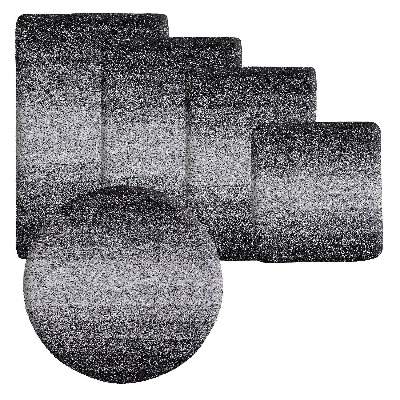 Badematten Schwarz badematte ombre schwarz hochflor badteppiche zum set