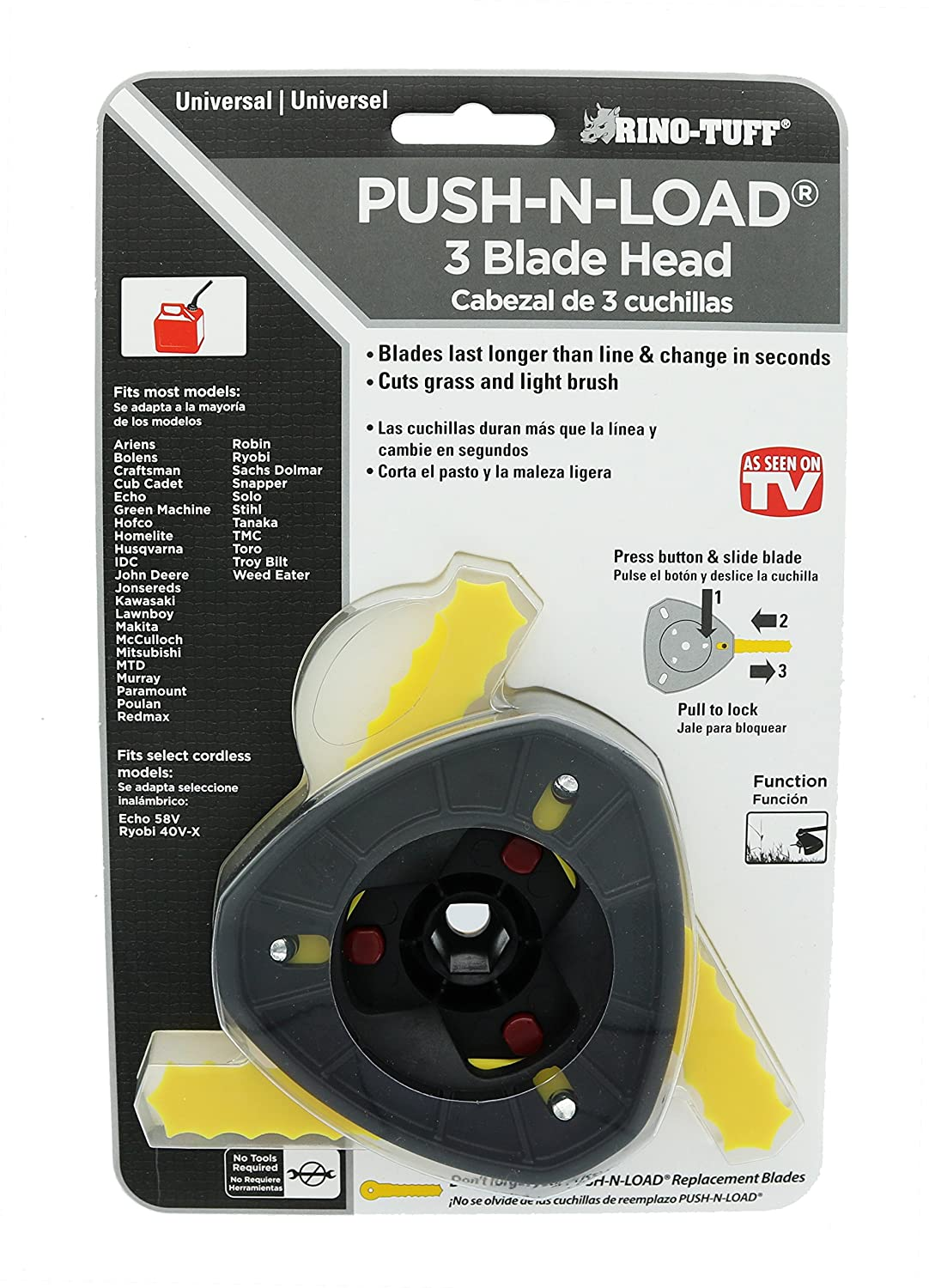 Rino Tuff Push n' Load Universal 3-Blade Head for Gas and Electric  Landscaping Trimmers
