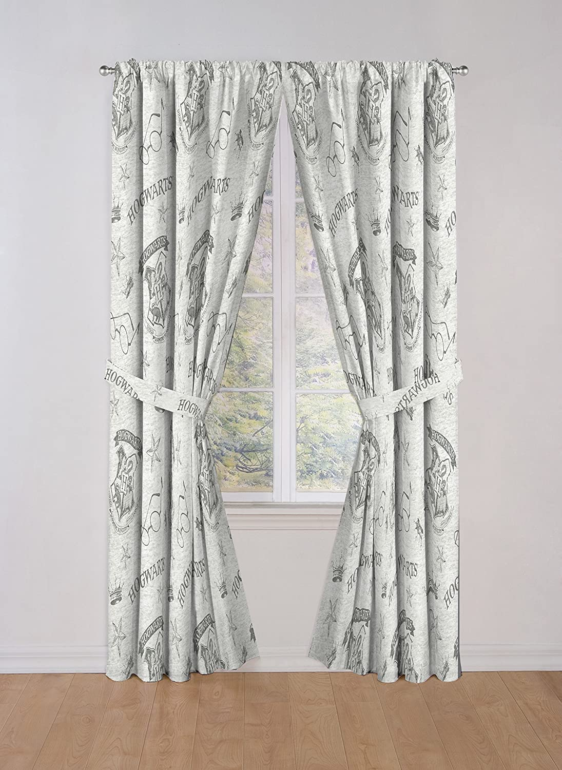 """Jay Franco Harry Potter Spellbound 84"""" Drapes - Beautiful Room Décor & Easy Set Up, Bedding Features Hogwarts Logo - Curtains Include 2 Tiebacks, 4 Piece Set (Official Harry Potter Product)"""