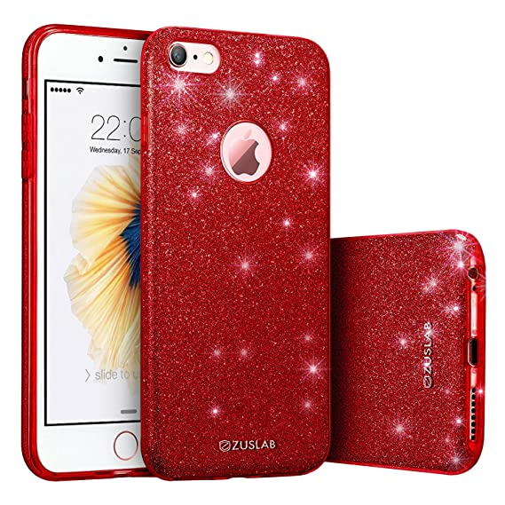 sale retailer 96da3 550d7 iPhone 6 / 6s Case, ZUSLAB Rosy Series, Bling Luxury Shinning Bumper,Dual  Layer Protective Glitter Cover for Apple iPhone 6 / 6s (Red)