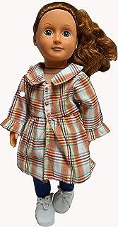 Doll Clothes Superstore Cappotto Scozzese - Volant e Fiore con Leggings Blu - Bambole da Ragazza 18 Pollici