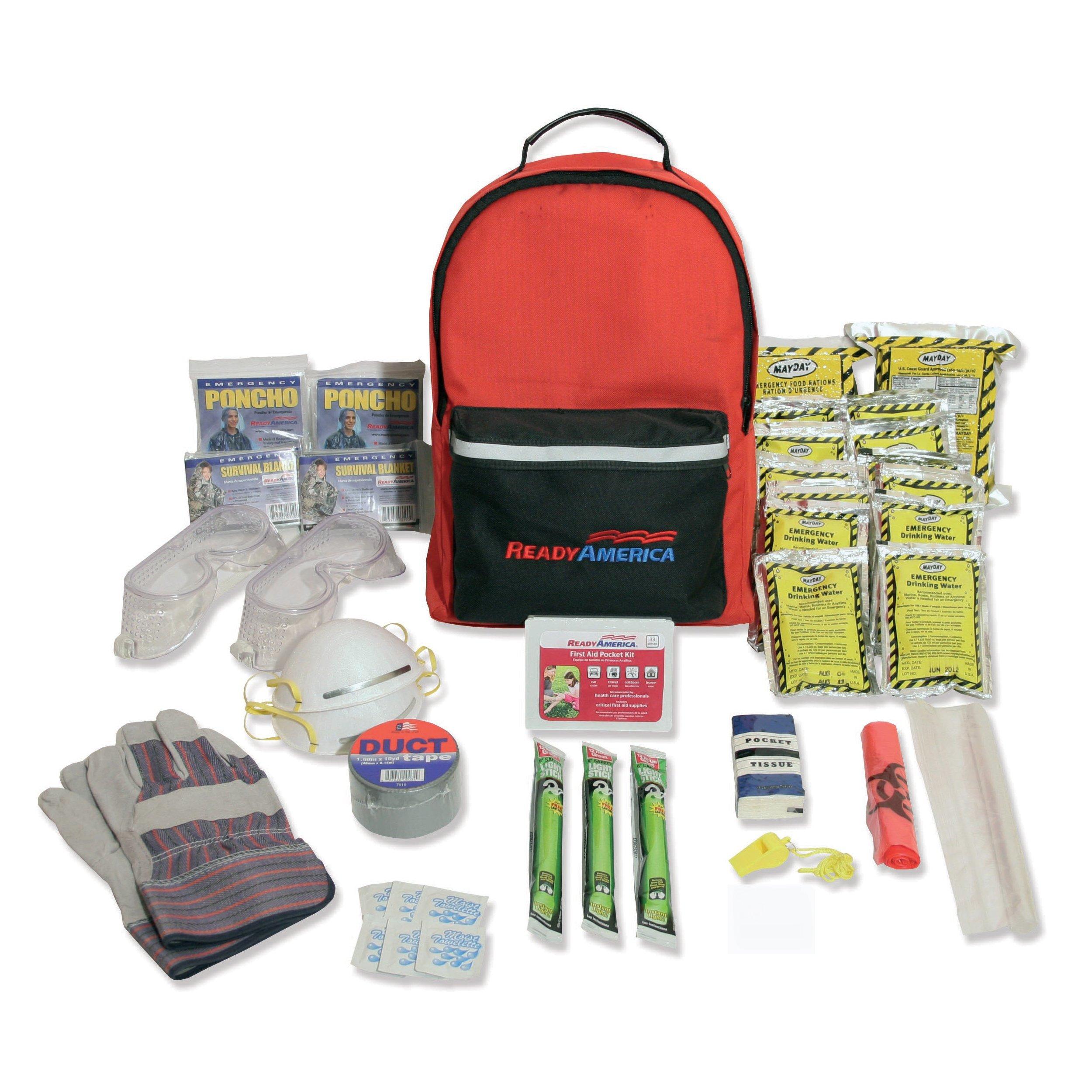 Ready America 70286 Hurricane Emergency Kit, 2 Person 3Day Backpack