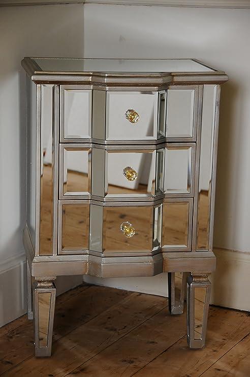 Comodino con 3 cassetti, in stile veneziano, rivestito con specchi ...