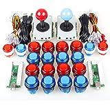 EG STARTS 2 giocatori Arcade Kit fai da te Ricambi 2 adesivi + 20 pulsanti luminosi a LED per Arcade Joystick Giochi per PC Mame Raspberry pi (rosso e blu)