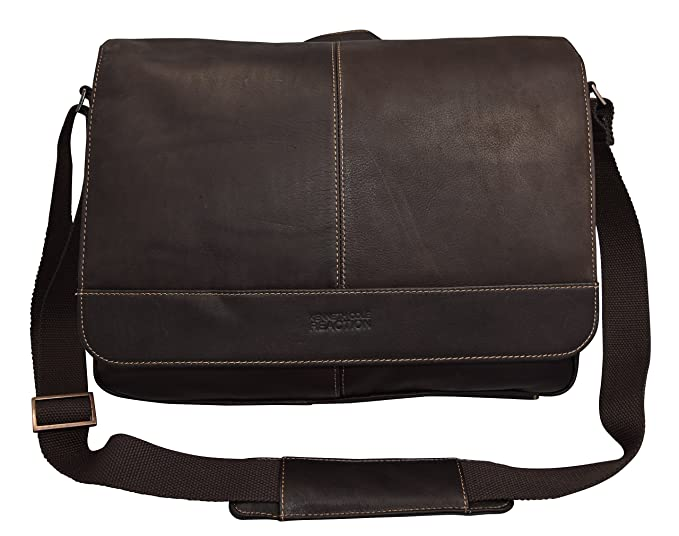 Kenneth Cole Reaction The Risky Business Colombian Leather Messenger Bag/Briefcase Brown