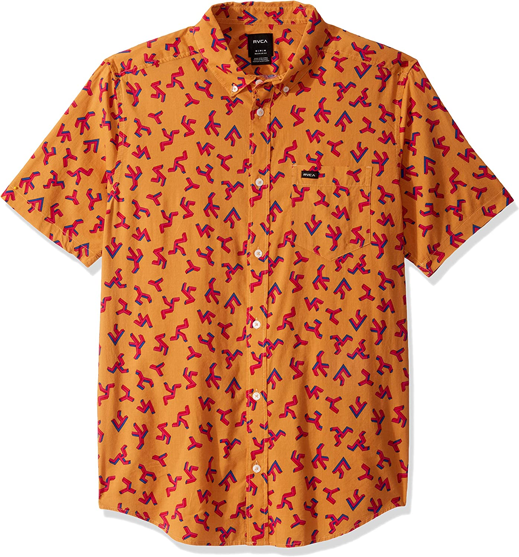 RVCA Mens Slappy Printed Button-Up Shirt