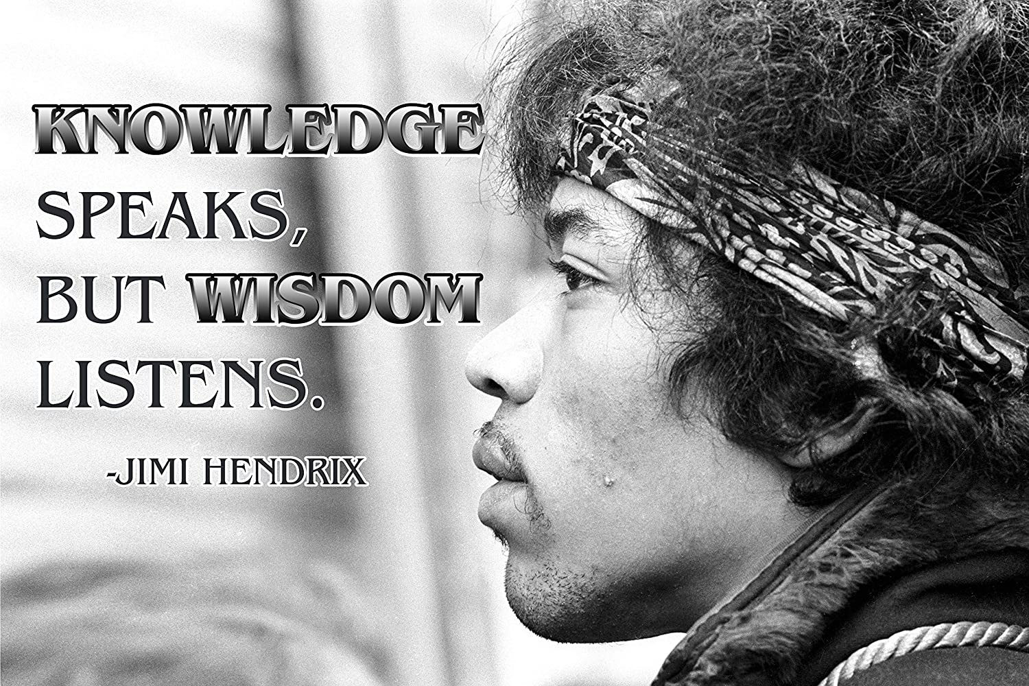 Jimi Hendrix Quote Poster Black History Month Posters Wall Art Music Quotes  Cool Woodstock 1969 Teaching Decorations Jimmy Classic Rock Decor Black ...