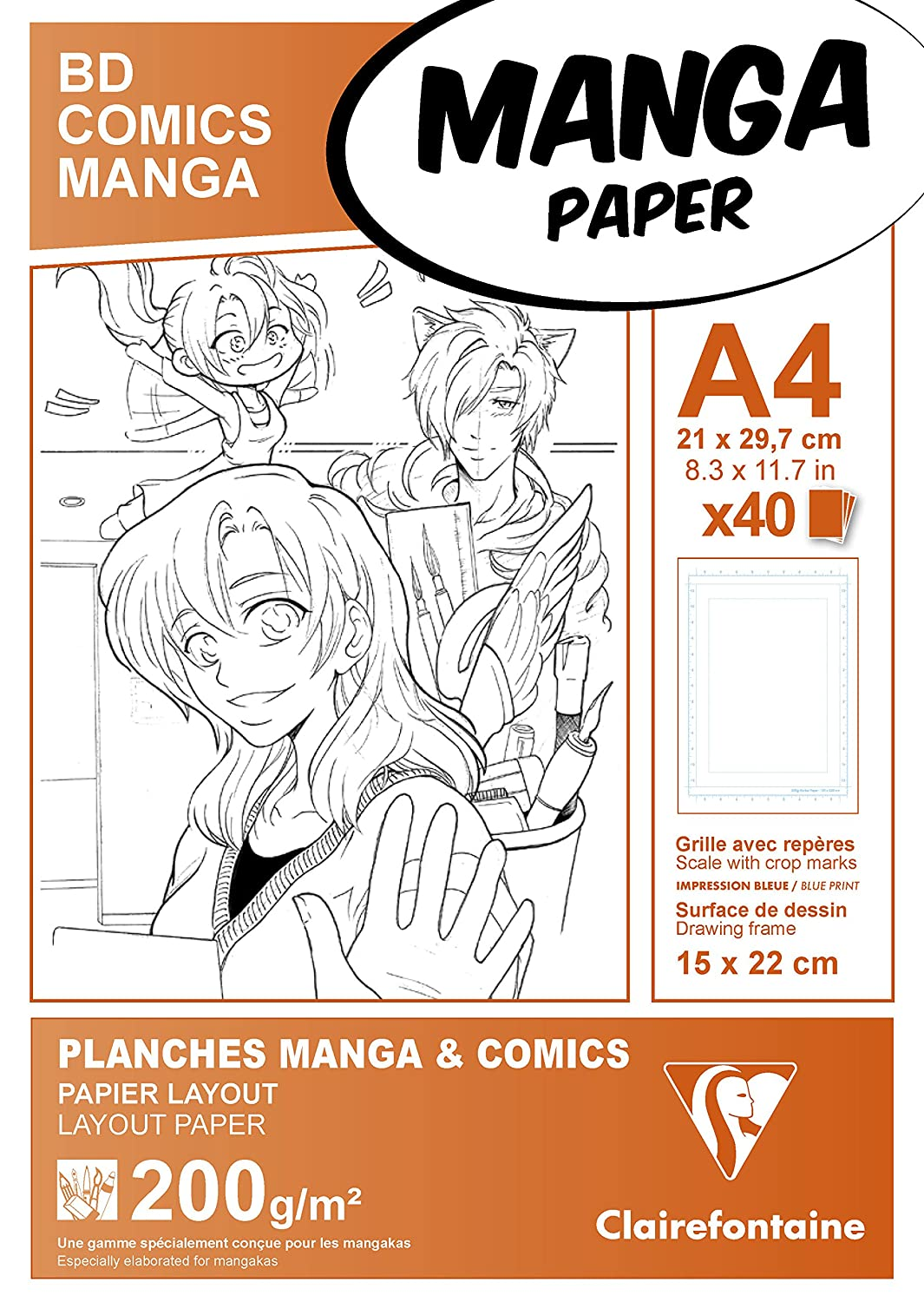 Manga Multi Technique Paper With Simple Frame Paper White 29 8 X