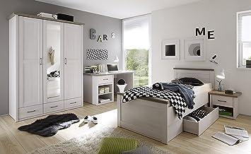 Kinderzimmer Set LUCA Jugendzimmer 4tlg Kleiderschrank Bett Nachttisch  Schreibtisch Pinie Weiß