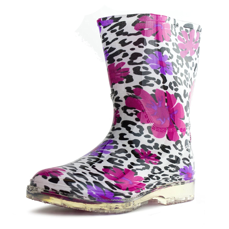 Easy Girls Outdoor Waterproof Rubber Rain Boots in Fun & Cut Print (Toddler/Little Kid)