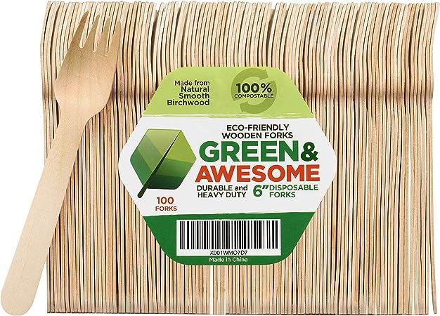 100 piezas horquillas de madera vajilla de fiesta Biodegradable cubiertos desechables Birchwood