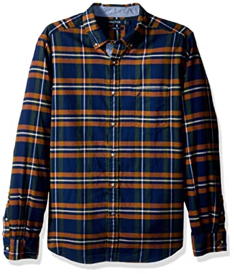 2eb3578ef0 Nautica Men's Long Sleeve Plaid Cozy Flannel Button Down Shirt, Marine Blue  Large at Amazon Men's Clothing store: