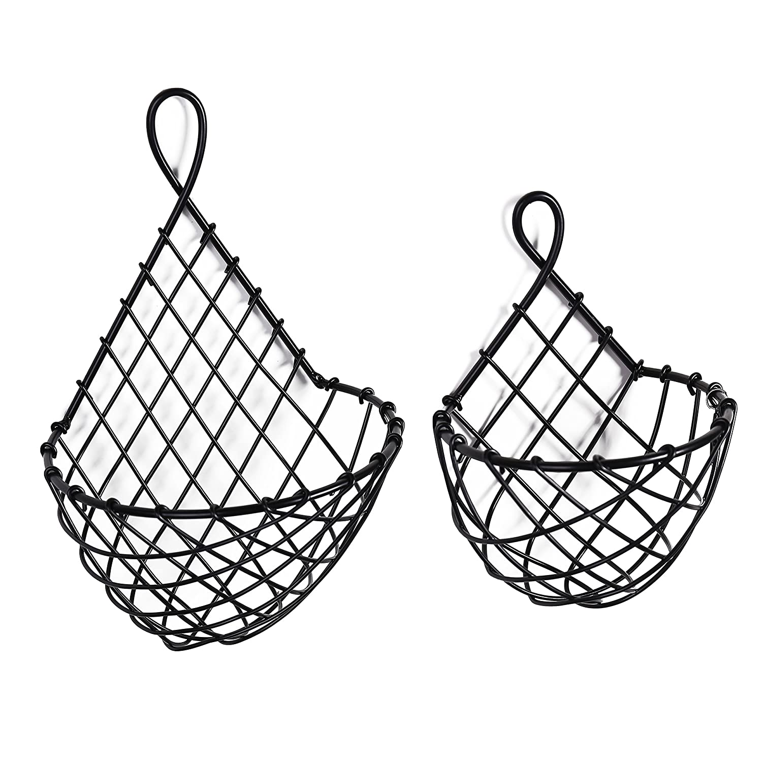 MyGift Wall-Mounted Black Metal Fruit Vegetable Baskets, Large & Small Hanging Produce Bins, Set of 2