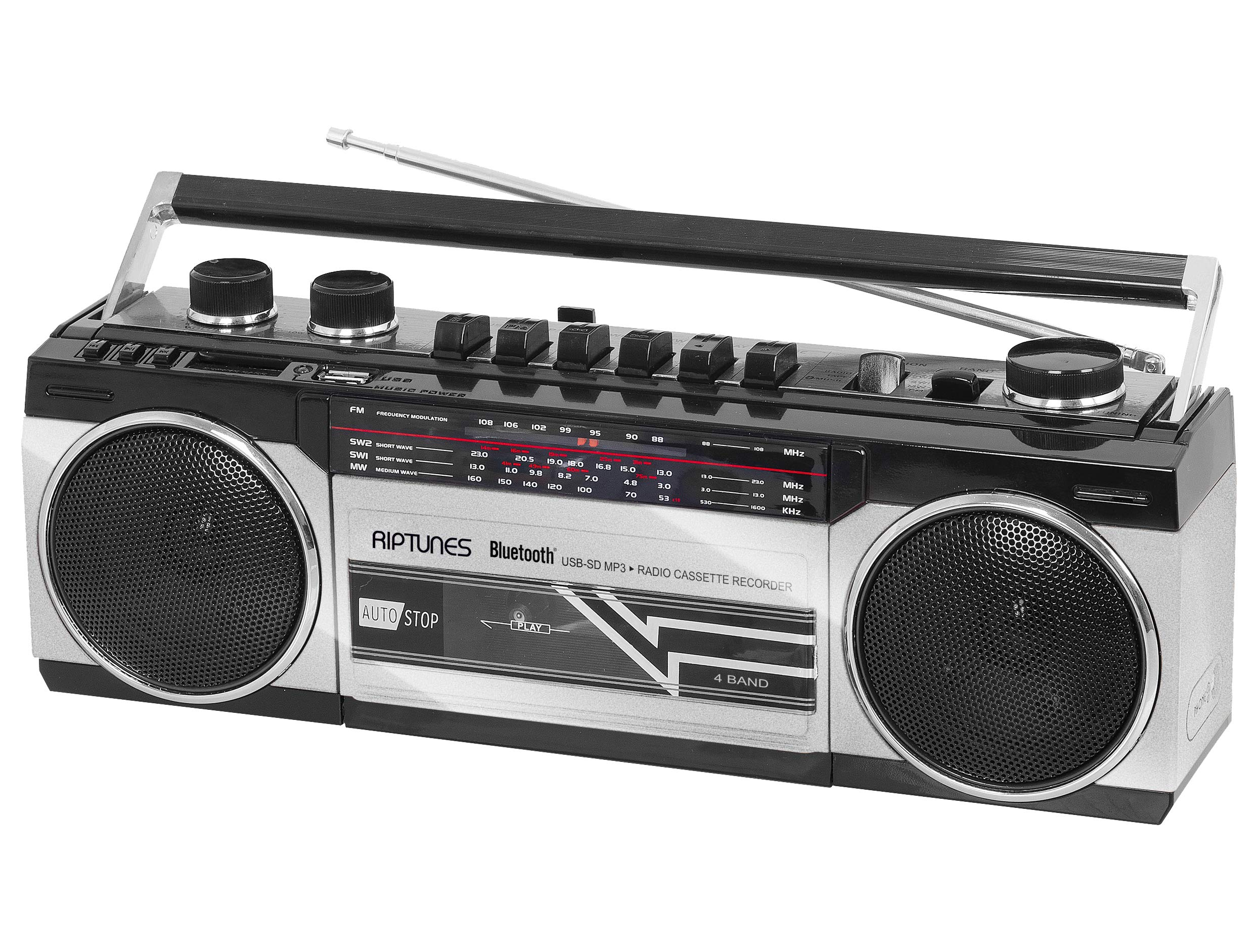 Riptunes Cassette Boombox, Retro Blueooth Boombox, Cassette Player and Recorder, AM/FM/ SW-1-SW2 Radio-4-Band Radio, USB, SD, Headphone Jack, Silver