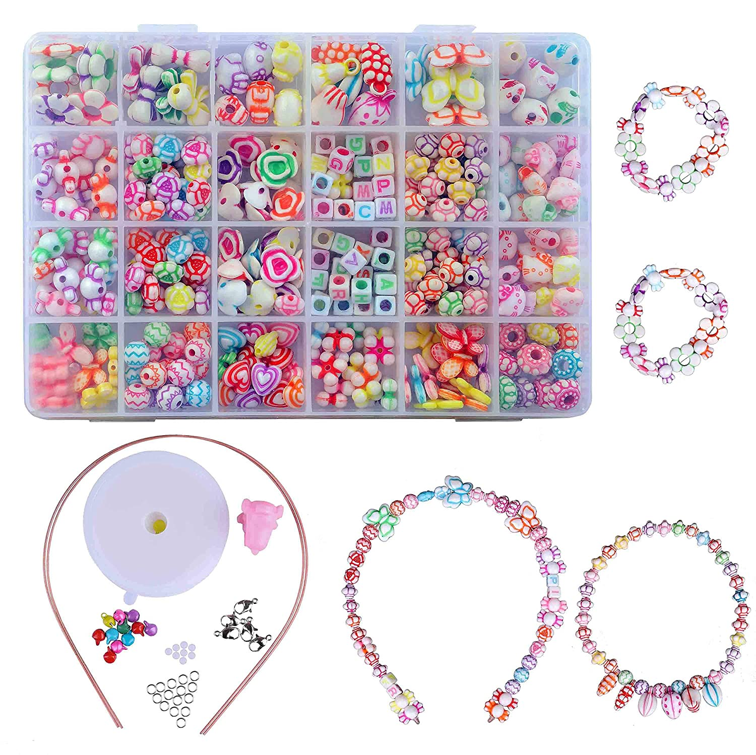 Kid Bead DIY Colorful Plastic Jewellery Making kit 24 Compartments Bracelets Making Bead Art Kit in PVC Box as Gift for Children Girls 400 Pieces