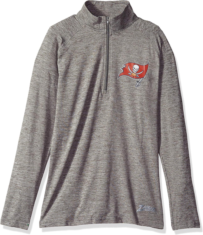 X-Small Zubaz NFL Tampa Bay Buccaneers Womens 1//4 Zip Sweatshirt Gray
