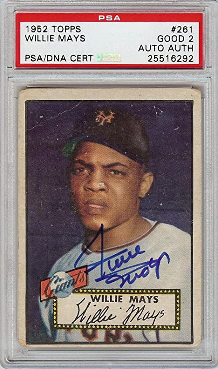 Rare 1952 Topps Willie Mays 261 Signed Autographed Rookie Card Coa