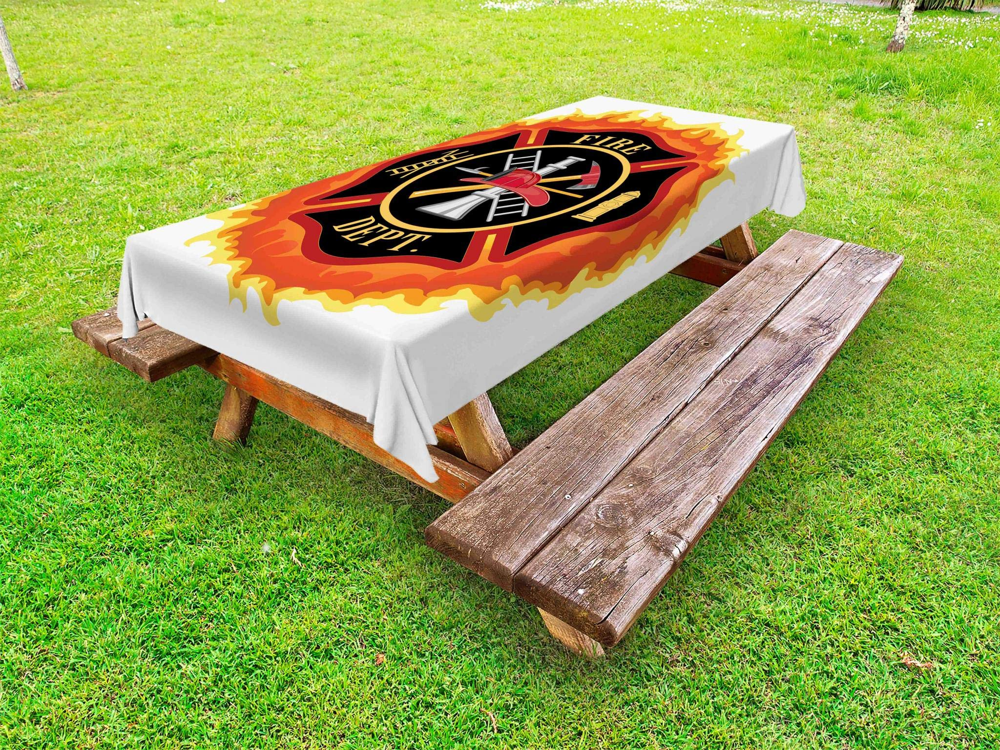 Lunarable Fireman Outdoor Tablecloth, Fire Department with Ladder Public Service Essential Tools of Firefighters, Decorative Washable Picnic Table Cloth, 58'' X 120'', Soft Orange