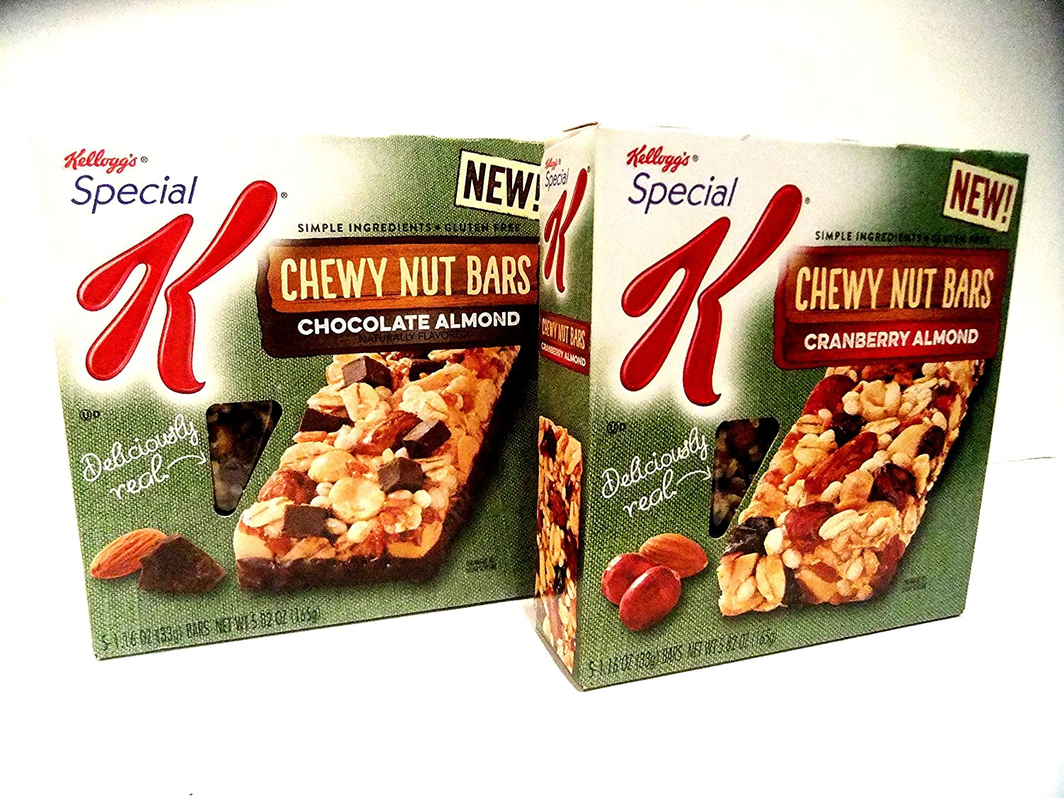 Kellogg's, Special K, NEW FLAVORS VARIETY PACK! CHEWY NUT BARS + FREE 19 oz Beverage Bottle, 2 Boxes of CHOCOLATE ALMOND, 2 Boxes of CRANBERRY ALMOND (4 PACK). 5 Bars Per Box.