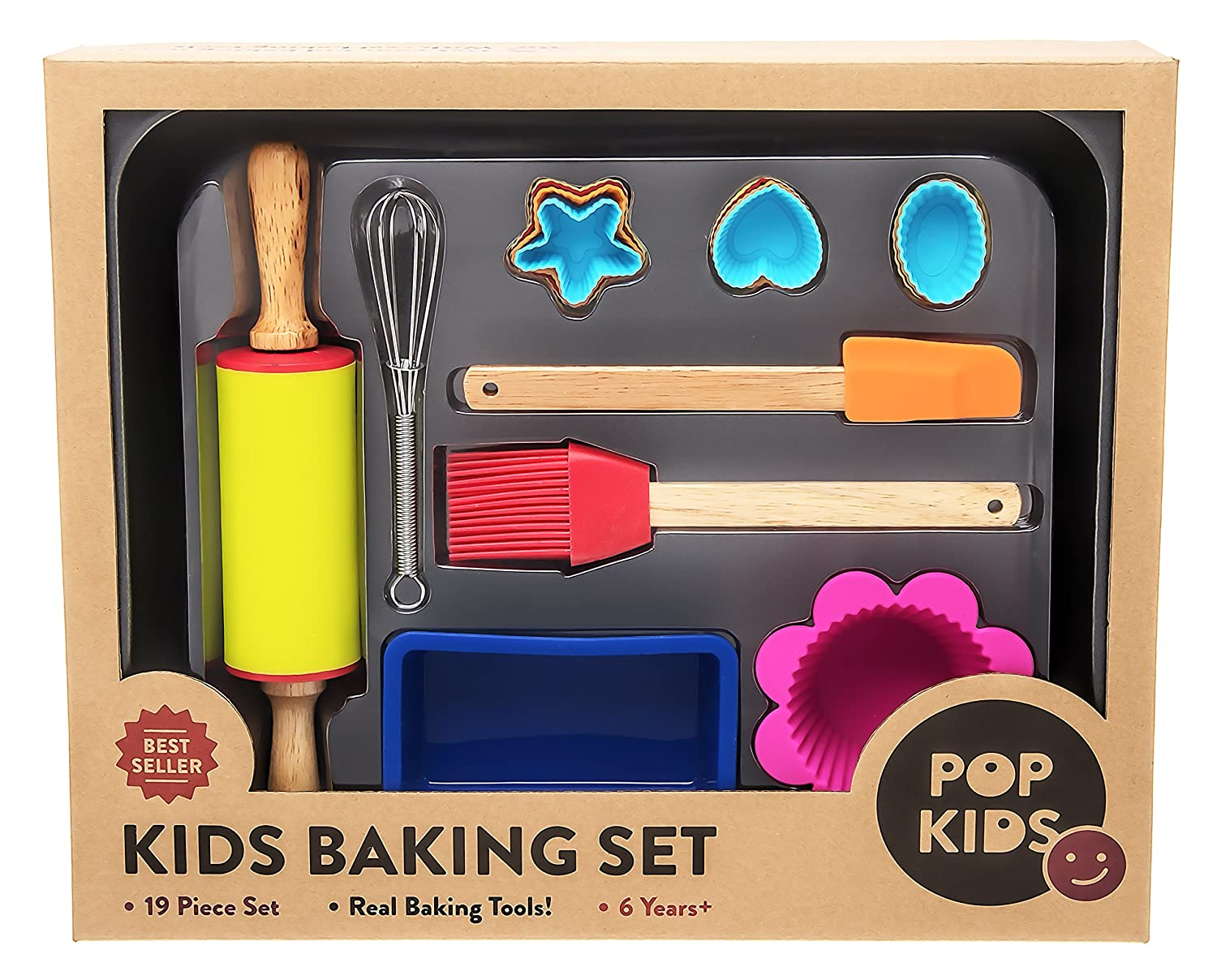 Pop Kids Baking Set for Family Fun Premium 19-Piece Kit for Children Learning to Bake Pop Kids Bake Set