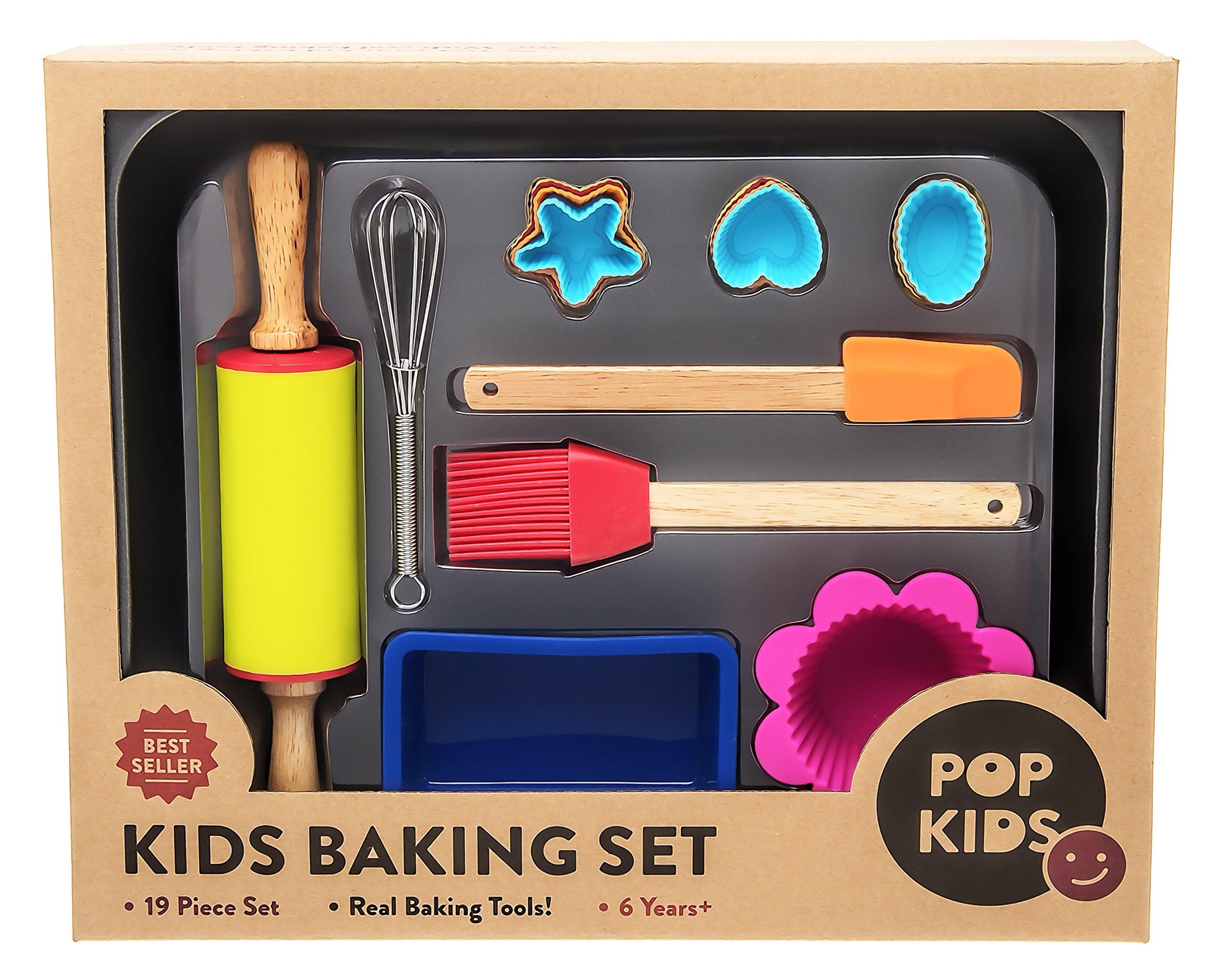 Pop Kids Baking Set for Family Fun Premium 19-Piece Kit for Children Learning to Bake by Pop Kids