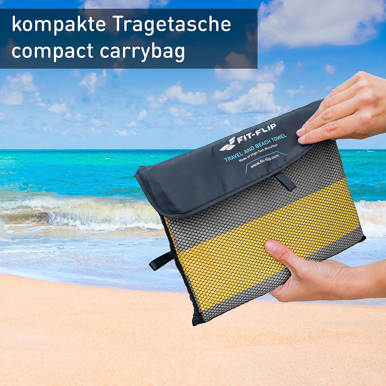 Fit-Flip Toalla de Playa de Microfibra para Viaje - Toalla de Secado Rápido, Liviana, a Prueba de Brisa, Toalla de Microfibra Resistente a Rayos UV: ...