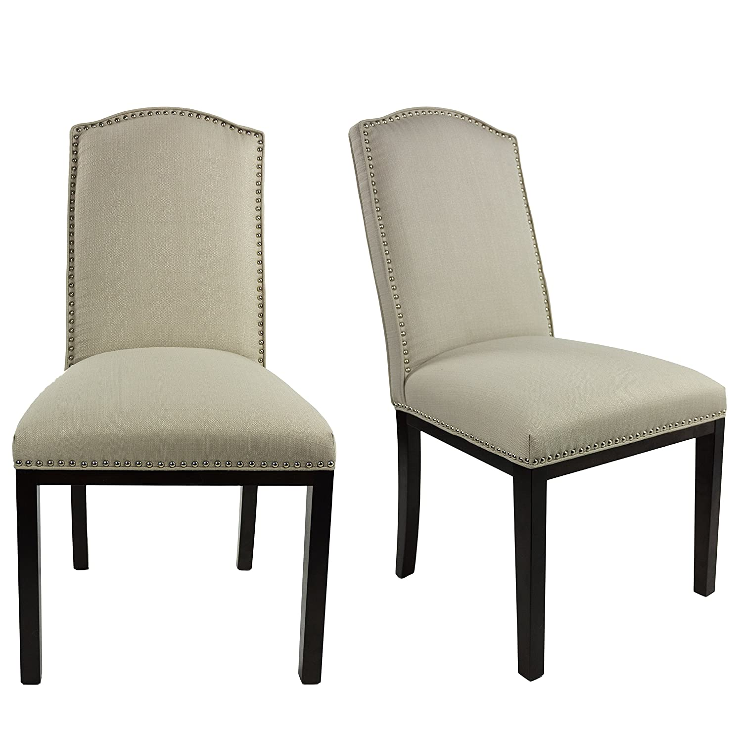 Sole Designs Allison Collection Modern Upholstered Dining Room Chair With Cambel Back Design and Nailhead Trim, Set of 2, Crème