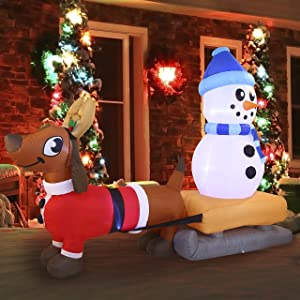 Joiedomi 8 FT Puppy Long Inflatable with Build-in LEDs Blow Up Inflatables for Xmas Party Indoor, Outdoor, Yard, Garden, Lawn Winter Decor.