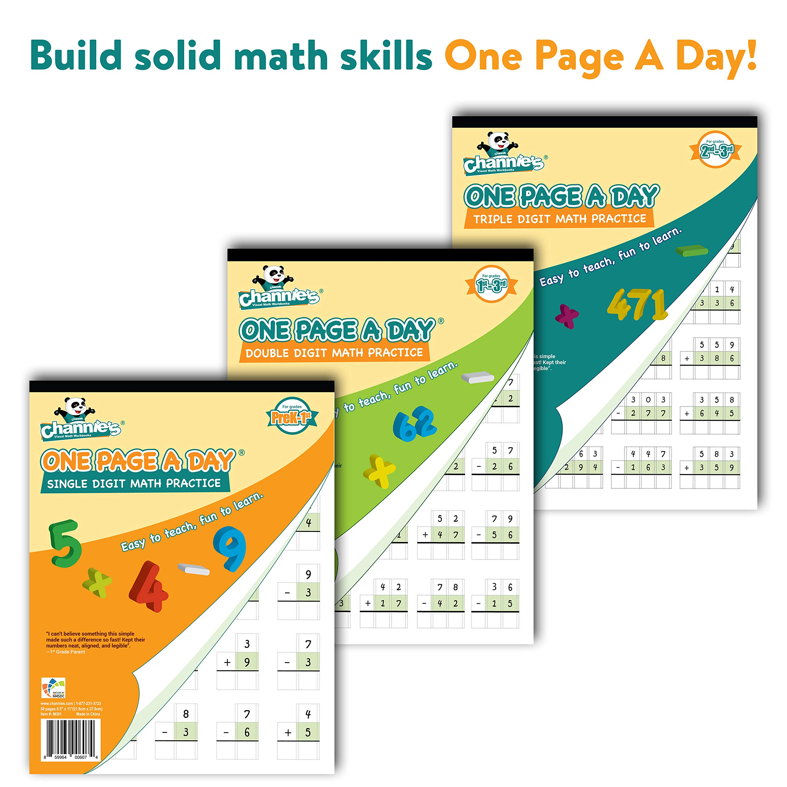 Channie's One Page A Day Single, Double, Triple Digit Math Practice Worksheets 3 Pack! Grades 2-4th Size 8.5'' x 11''