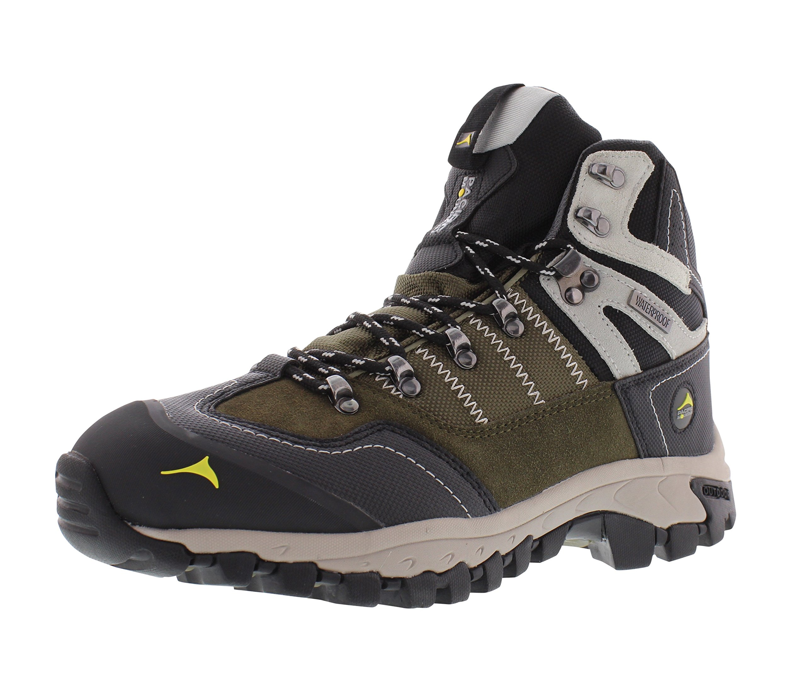 Pacific Mountain Ascend Men's Waterproof Hiking Backpacking Mid-Cut Olive/Black/Cream Boots Size 12