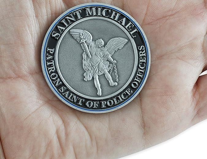 Saint Michael Thin Blue Line Patron Saint of Police - Moneda de Seguridad con diseño de Sant of Police, Color Dorado y Plateado