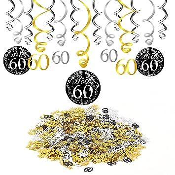 Konsait 60 Geburtstag Swirl Folienspiralen Zum Aufhangen 15 Grafen