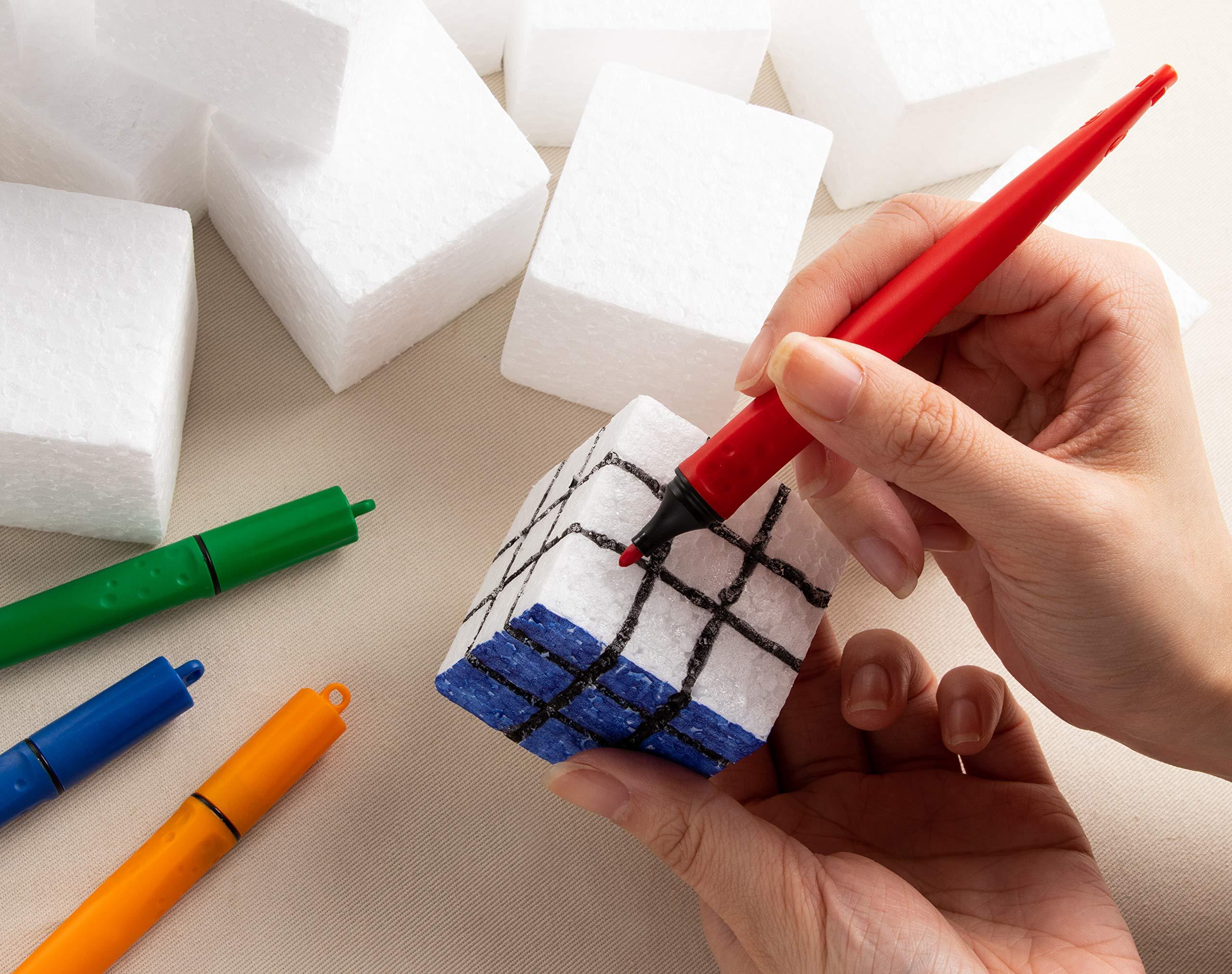Craft Foam Blocks - 36-Piece Polystyrene Foam Blocks for Crafts and Modeling, 2 x 2 x 2 Inches Blank Craft Foam by Genie Crafts (Image #3)