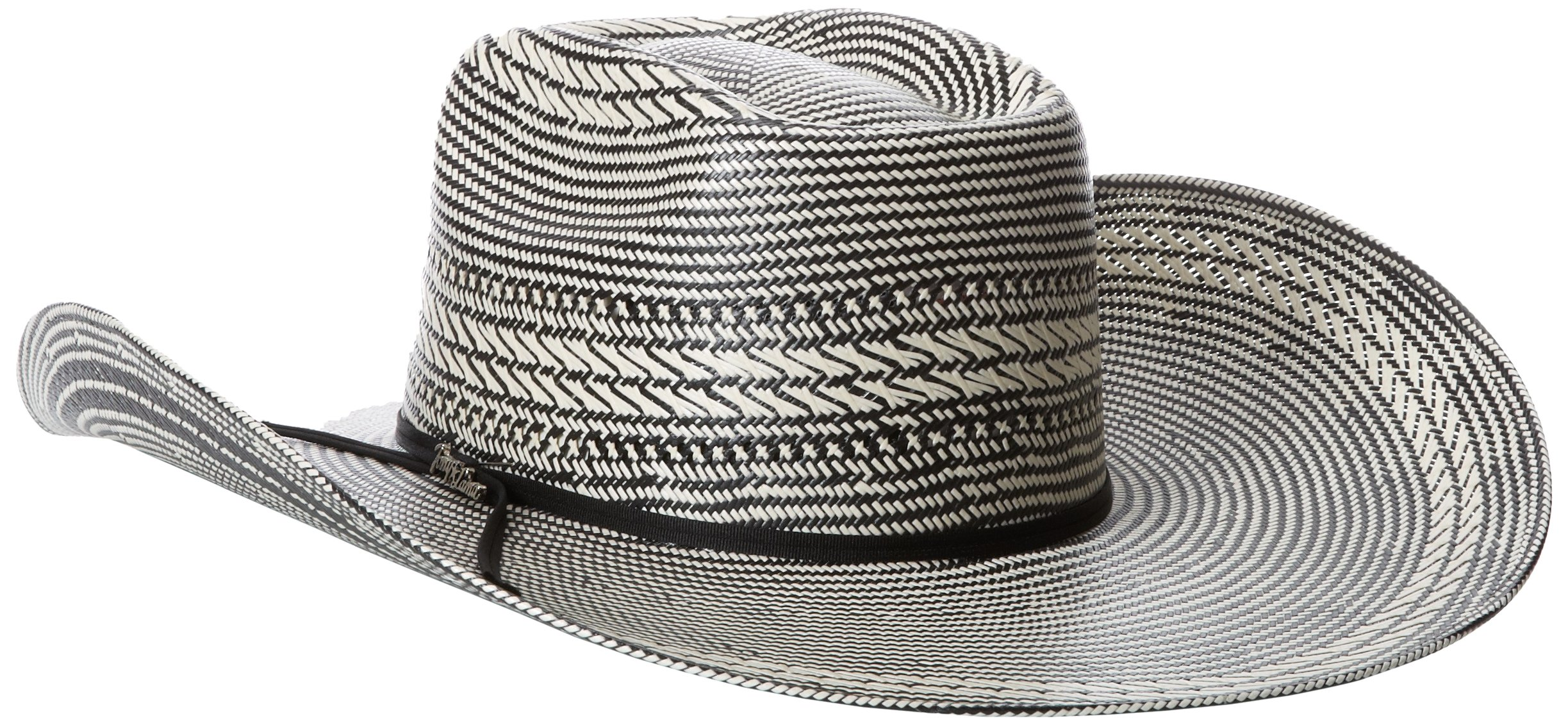 Tony Lama Men's Vegas Black White Straw Cowboy Hat, Black/White, 7