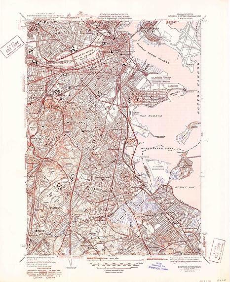 Amazon.com: YellowMaps Boston South MA topo map, 1:31680 Scale, 7.5 ...