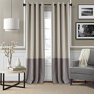 "Elrene Home Fashions 26865874686 Braiden Room Darkening Grommet Window Curtain Drape Panel, 52"" x 84"", Linen, 1"