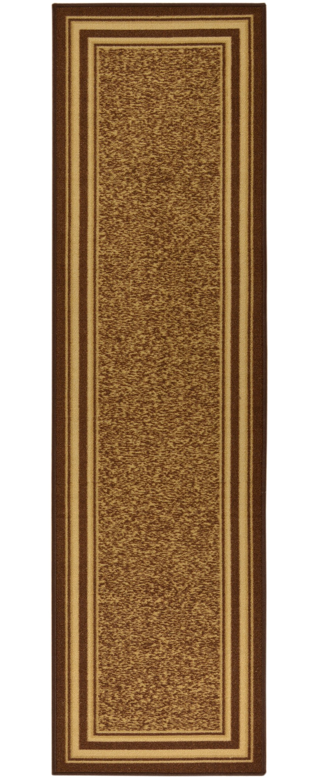 Ottomanson Ottohome Collection Contemporary Bordered Design Non-Skid Rubber Backing Runner Rug, 2'0'' X 7'0'', Brown by Ottomanson (Image #1)
