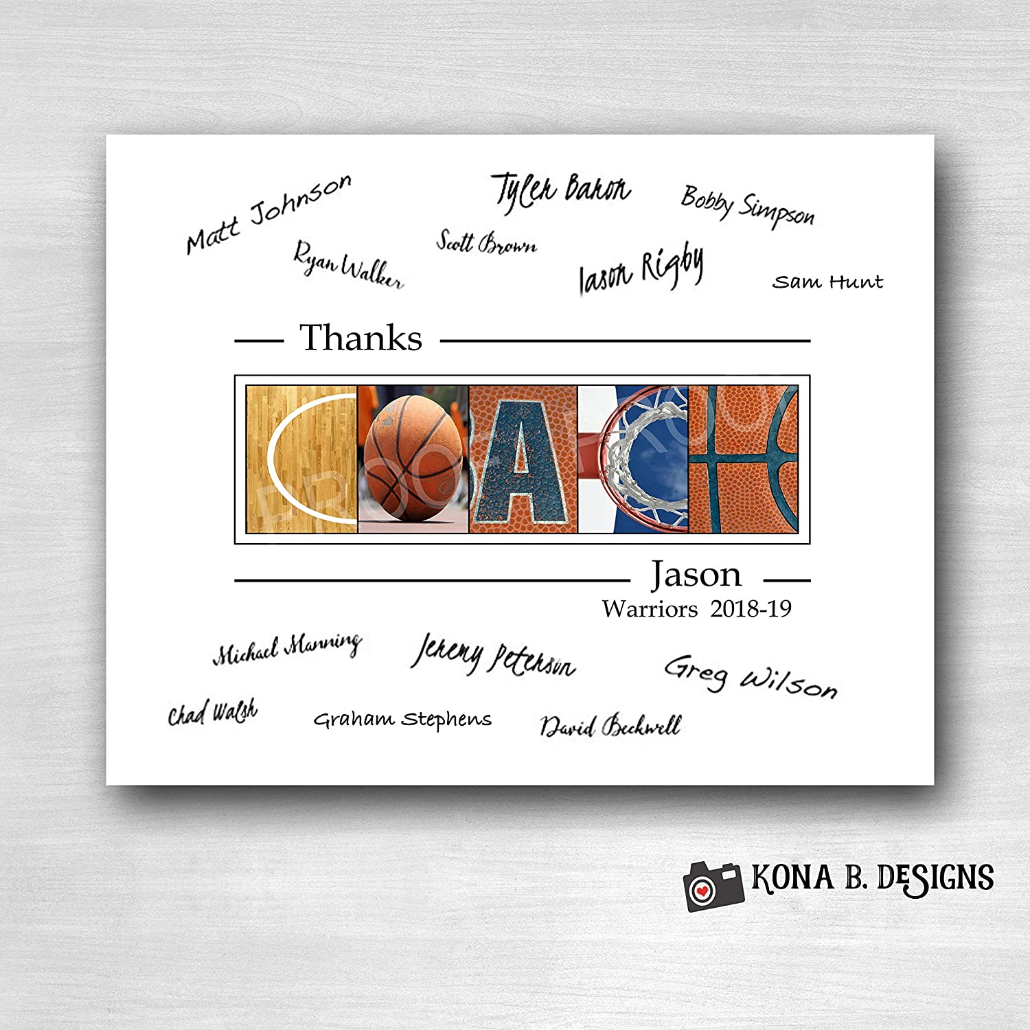 Basketball Coach's Gift with player's signatures - Gift for Basketball Coach - 11x14 with border for signatures