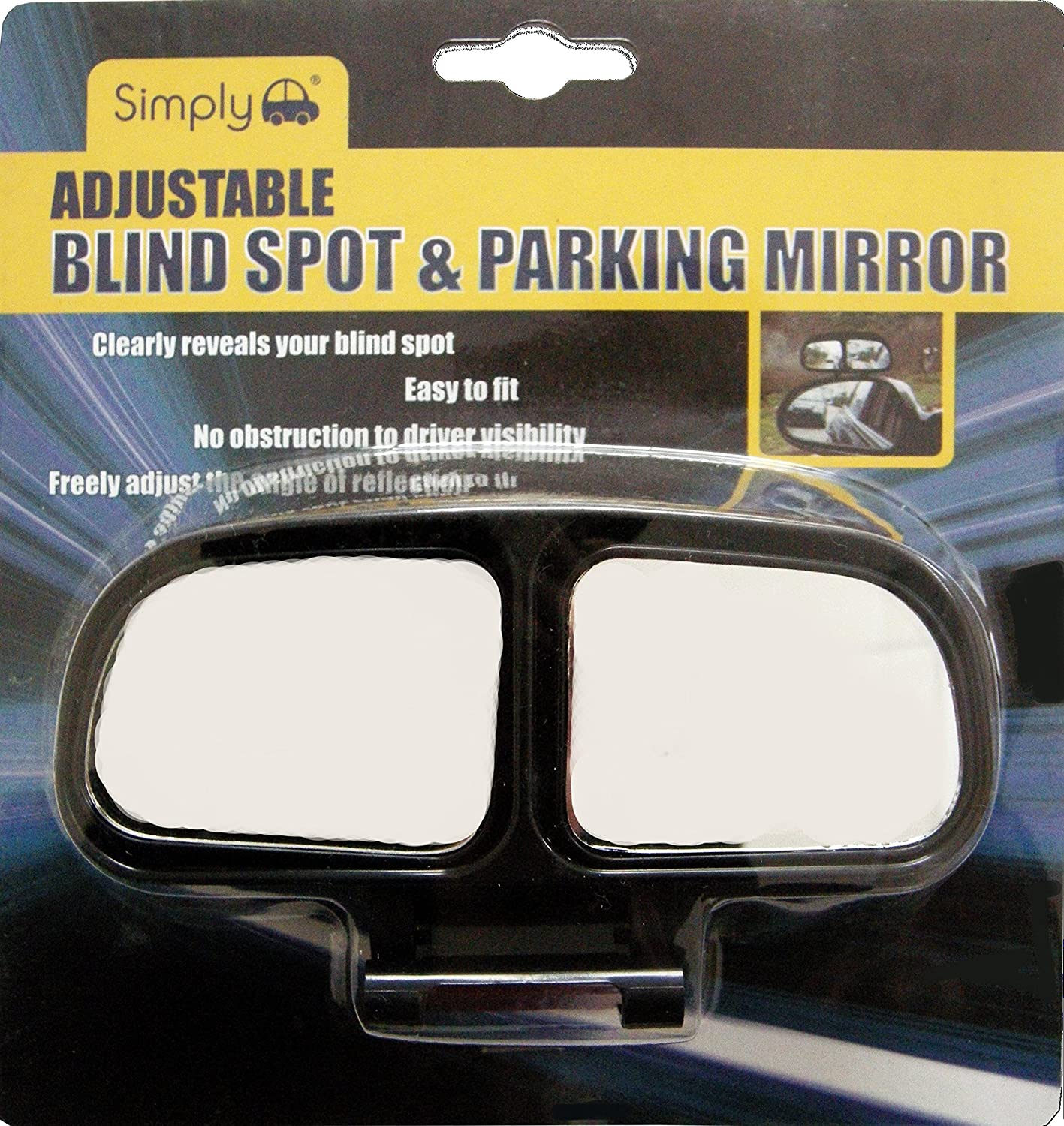 Simply BS009 Adjustable Clip-on Blind Spot Car Mirror, Increase Visibility, Universal Easy to Fit & Remove