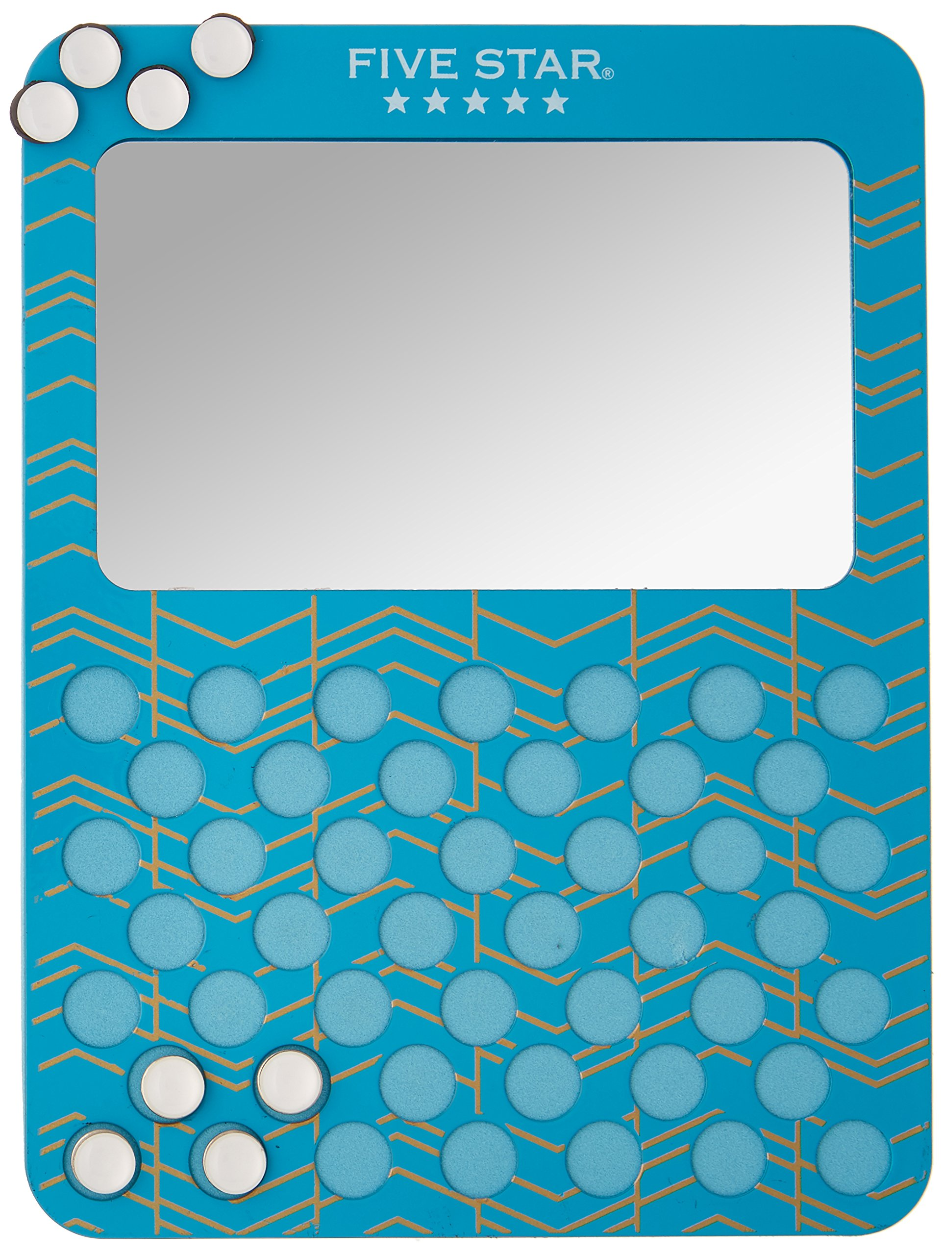 Five Star Locker Accessories, Magnetic Mirror with Push Pin Board, Teal Chevron (38988)