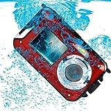 PowerLead ダブルスクリーン防水デジタルカメラ2.7インチカメラ付き2.7インチフロントLCD (赤)