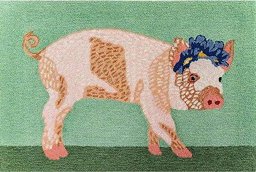 Liora Manne 4424 06 Front Porch Farmhouse Kitchen Pretty In Pig Green Indoor Outdoor Rug, 2 6 X 4 , Pink