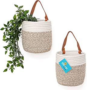 """OrganiHaus Hanging Woven Wall Basket Set with Genuine Leather Handles, Set of 2 Small Wall Mounted Farmhouse Baskets, Bathroom Wall Storage and Plant Hanger, 7"""" x 6"""" - Tan/White"""